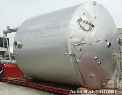 """Used- Stainless Fabrication Kettle, 15,000 Gallon, 316L Stainless Steel, Vertical. 158"""" diameter x 167"""" straight side, dishe..."""