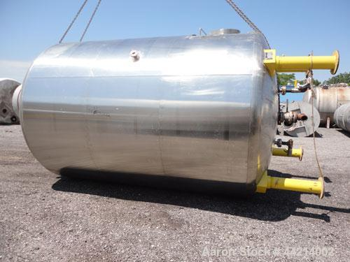 "Used- G.W. Taylor Tank, 6000 Gallon, 316 Stainless Steel, Vertical. Approximate 108"" diameter x 144"" straight side, dished t..."