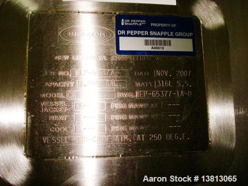 "Used-Walker 7,000 Gallon, Type 316L Stainless Steel Vertical Mixing Tank, Model CB. Built in 2007. 11'3"" diameter x 10' stra..."