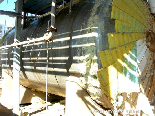 """USED: Walker Stainless tank, 8,500 gallon, 316 stainless steel, horizontal. Approximately 9' diameter x 16'9"""" straight side,..."""