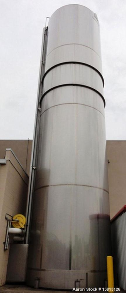Used-Walker Stainless 47,500 Gallon Stainless Steel Silo, Model VSHT/304SS.  Built in 2000.  Single wall stainless steel alc...