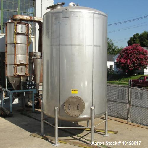 Used- Walker 5000 Gallon Vertical 304 Stainless Steel Tank. This tank has a dome top and a dish bottom. The tank diameter is...