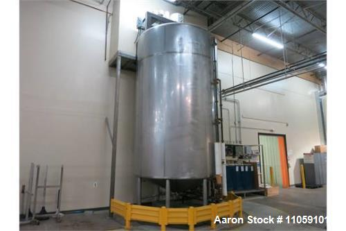 Used- Walker 7000 Gallon Sanitary, Jacketed Process Mix Tank. Full sweep agitator, Model VHT3459R. Jacket rated 75 PSI and h...