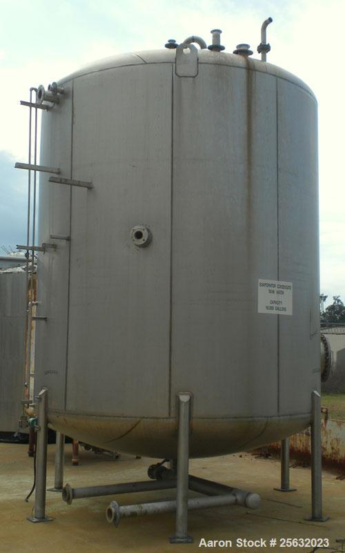 "Used- Walker Storage Tank, 10,000 Gallon, 304L stainless steel, vertical. Approximate 138"" diameter x 144"" straight side, di..."