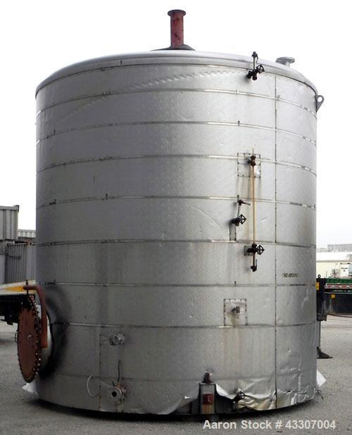 "Used- Walker Stainless Tank, 8500 Gallon, 304 Stainless Steel, Vertical. Approximate 132"" diameter x 144"" straight side, con..."