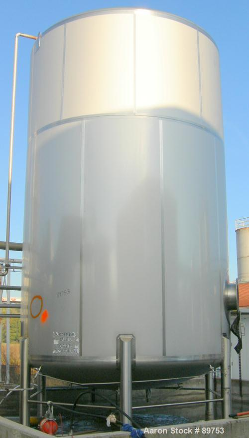 USED: Walker 16,200 gallon, type 304L stainless steel storage tank. Vertical, dished heads. Approximately 12' diameter x 18'...