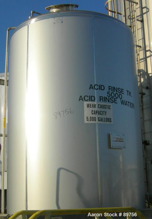 USED: Walker 5,000 gallon, type 304L stainless steel, storage tank. Vertical, dished heads. Approximate 8' diameter x 12' st...