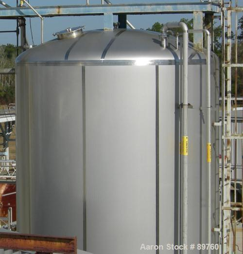 USED: Walker 21,000 gallon, type 304L stainless steel, storage tank. Vertical, dished heads, approximate 12' diameter x 24' ...