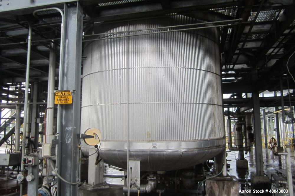 Used- Whiting Metals 5,000 gallon 316L Stainless Steel Vertical Jacketed Mix Tan