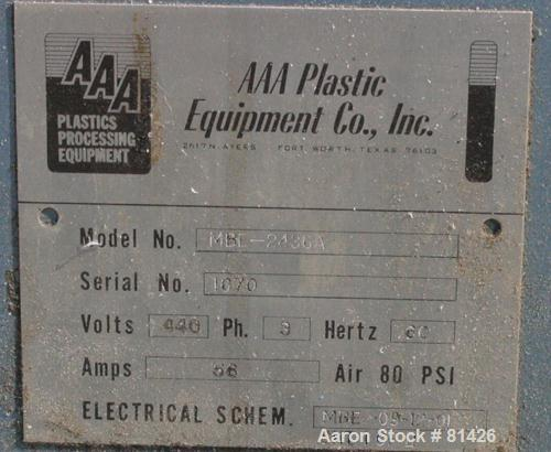 """Used- AAA Plastic Equipment Machine Enforcer Thermoformer, Model MBD2436A. 24"""" x 36"""" single station, 3/60/440 volt."""