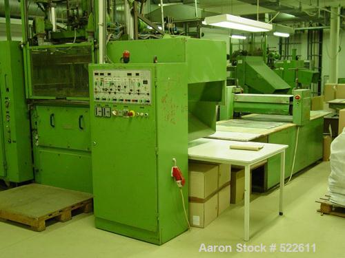 """Used- Illing Thermoforming Machine, Type D100. Forming area 23.4"""" x 39"""" (600 x 1000mm). Top ram. 4.68"""" (120mm) depth of draw..."""