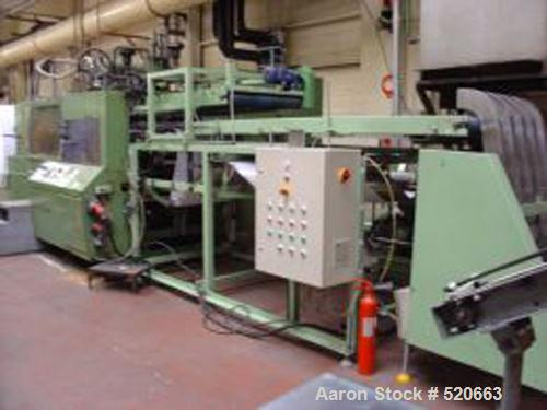 USED: Illig RDM 70/10, 1989. PE, PP pots 50 cl. 1.60mm thickness.700 x 350 mm forming area. Grinder Dreher 850 mm. In line w...