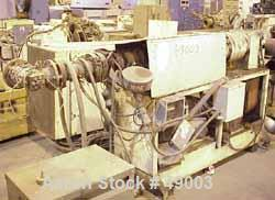 "USED:American Western lid line, model 1500, consisting of: 1 approx2"" diameter single screw extruder, 22:1 L/D, electrically..."