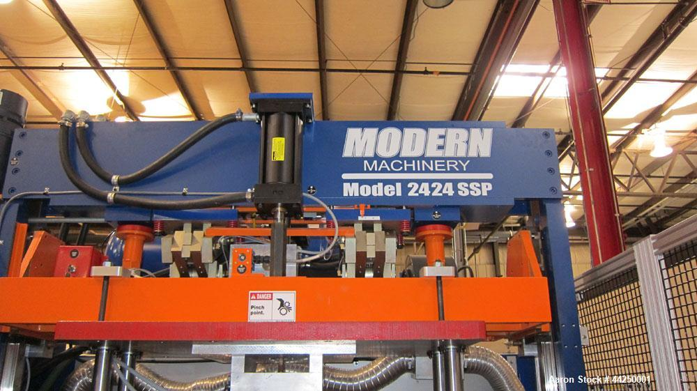 "Used- Modern Machinery Thermoformer, Model 2424 SSP. Maximum mold size 24"" x 24"", form tool area dimensions, top: open: 13-5..."