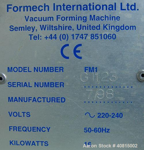 Used- Formech International Manual Vacuum Forming Machine, Model FM1, carbon steel. Manual raise and lower bed. Material siz...