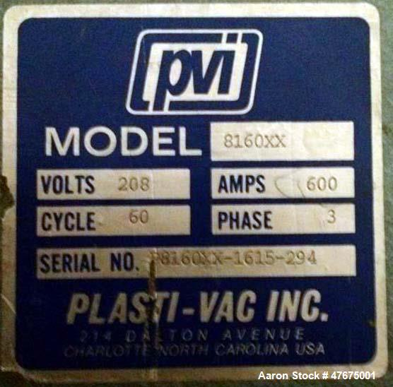 Used- Plasti-Vac Single Station Thermoformer, Model P8160XX. 8 x 16 forming area, automatic cycle, top nichrome wire multi-z...