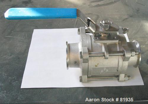 "USED: Manual 3 piece ball valve, 2-1/2"" diameter tri clampconnections. 316 stainless steel."
