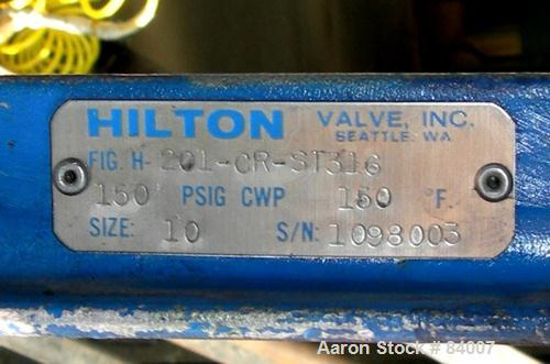 "USED: Hilton 10"" diameter air operated knife gate valve, model 201-CR-ST316. 316 stainless steel. Max 150 psi at 150 deg F. ..."