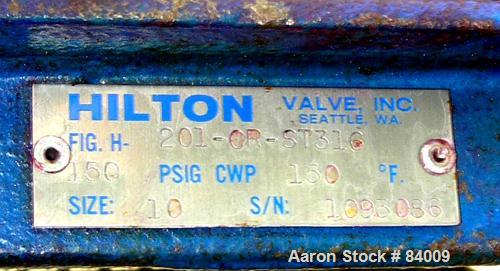 """USED: Hilton 10"""" diameter air operated knife gate valve, model 201-CR-ST316. 316 stainless steel. Max 150 psi at 150 deg F. ..."""