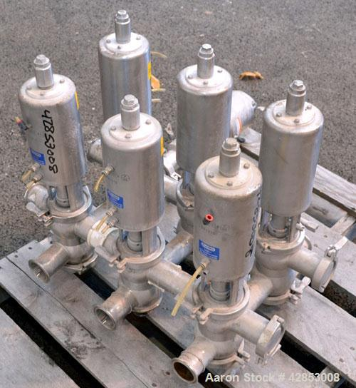 """Used- Sanitary Valve Bank, 316 Stainless Steel, Consisting Of: (6) Sudmo 2"""" valves."""