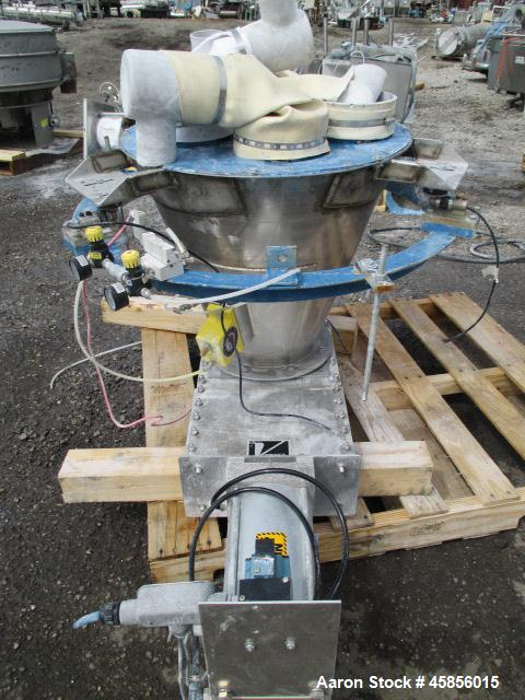 "Used-Vortex 8"" Slide Gate Valve, Model QS-FA10-MG-WS1. Pneumatically operated with top mounted stainless steel hopper, seria..."