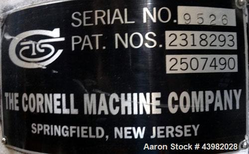 """Used- Cornell Machine Versator, Model D-8, 316 Stainless Steel. 8"""" Diameter disc, rated 2000-6000 rpm, up to 2 gallons per m..."""