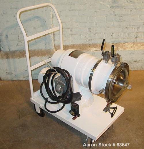 "Used- Cornell Versator, Model D-8, 316 Stainless Steel. 8"" diameter disc, rated 2000-6000 rpm. 0-2 gallons per minute. Glass..."