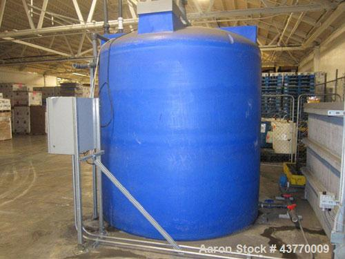 Used-Waste Water treatment system consisting of 4,000 gallon Polytank, Poly Clarifier Tank; U S Filter Stanatrol 800 Dual pu...