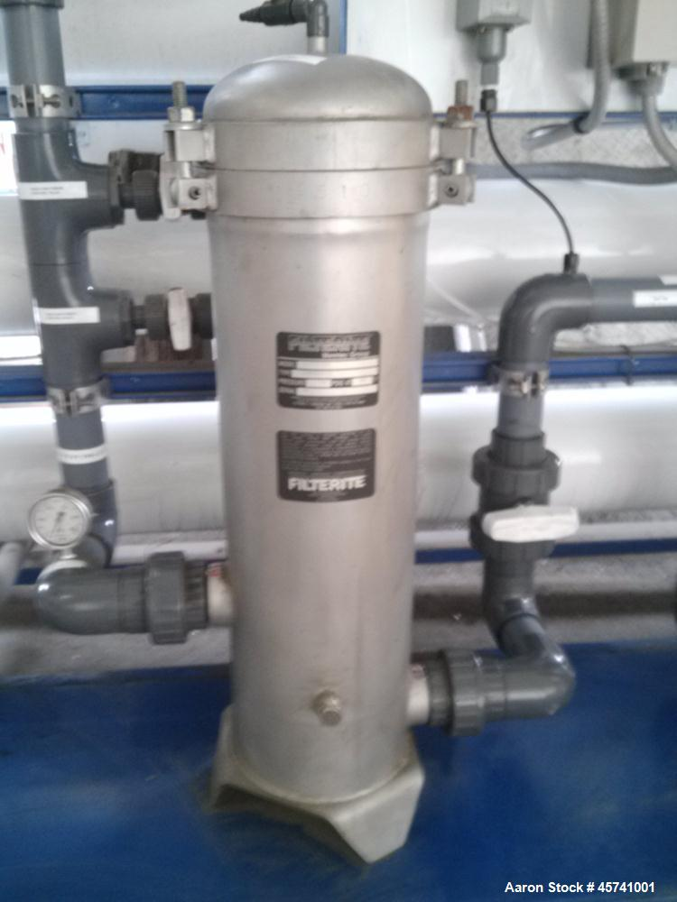 Used- Ionic Ahlfinger Water Company Reverse Osmosis System. Baldor 15 hp electric motor, 480 volts, 3 phase mounted on Grund...