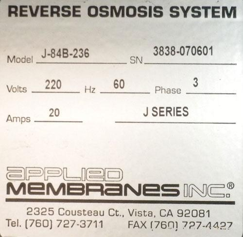 Used- Applied Membranes Inc Reverse Osmosis System, model J-84B-236, 316 stainless steel. Designed to produce low dissolved ...