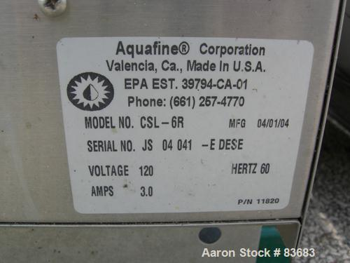 """USED: Aquafin ultraviolet sterilizer, model CSL-6R. 316 stainless steel housing. Rated 125 psi at 150 deg F. 3"""" inlet/outlet..."""
