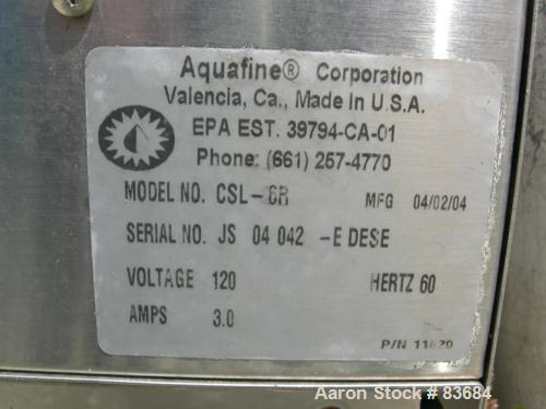 "USED: Aquafin ultraviolet sterilizer, model CSL-6R. 316 stainless steel housing. Rated 125 psi at 150 deg F. 3"" inlet/outlet..."