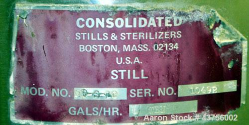 Used- Consolidated Stills & Sterilizers Steam Heated Still, Model NP-S-10