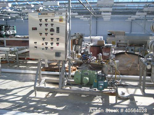 Used- Koch Partially Skidded Ultrafiltration Unit, Model SC24. Rate 75 psi at 130 deg F. Includes dual 5 pass membrane filtr...