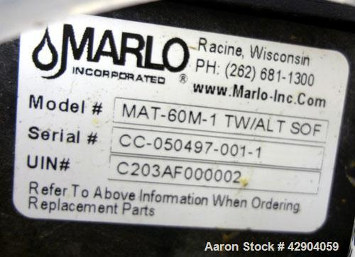 Used- Marlo Twin Alternating Water Softener System, Model MAT-60M-1