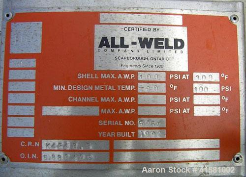 Used- All-Weld Pressure Carbon Filter Tank, 1500 gallon, 304L stainless steel, vertical. 72'' diameter x 76'' straight side,...