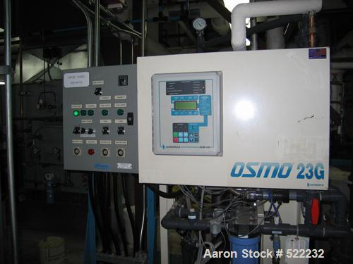 USED: OSMO 23G series reverse osmosis unit, model 23G-HF (PA) 19.8K. Permeate rate: 8.0 gpm (30.3 lpm). Concentrate rate: 2....