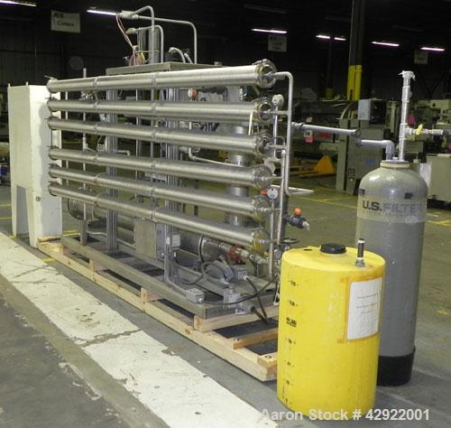 "Used- US Filter Reverse Osmosis Water Treatment Skid, 316 Stainless Steel. Consits of: (6) approximately 4"" diameter x 126"" ..."