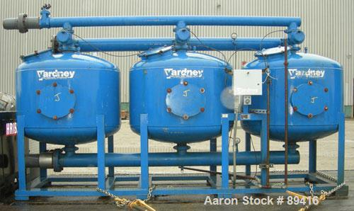 "USED: Yardney high rate sand media filter system, model IL4824-3A, carbon steel. (3) 48"" diameter x 24"" tall epoxy coated ca..."