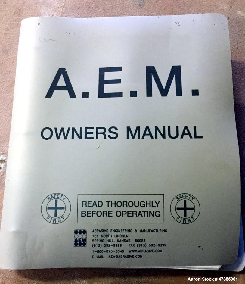 Used-Abrasive Engineering & Manufacturing (AEM) Sander, Model 501-37 Wood. s/n 8082