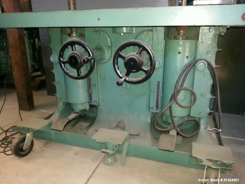 "Used- Yates Dual Spindle Shaper, Model N-44. 42"" high x 71""wide x 43"" deep. Spindles are 2"" wide, 21"" from the edge and 30"" ..."