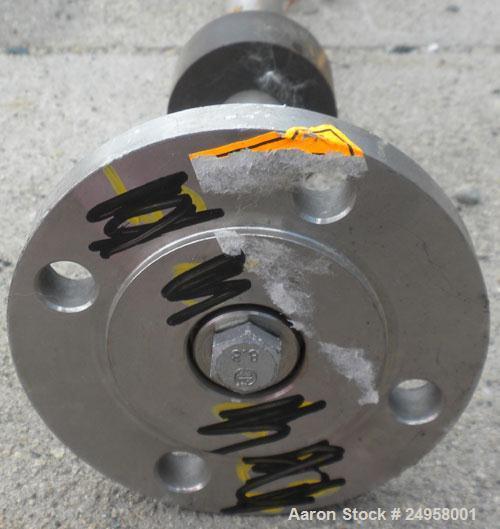 Used- Agitator Shaft, 316 Stainless Steel. 1'' Diameter x 62-3/4'' long shaft with a 3'' diameter plastic impeller. 4-3/4'' ...