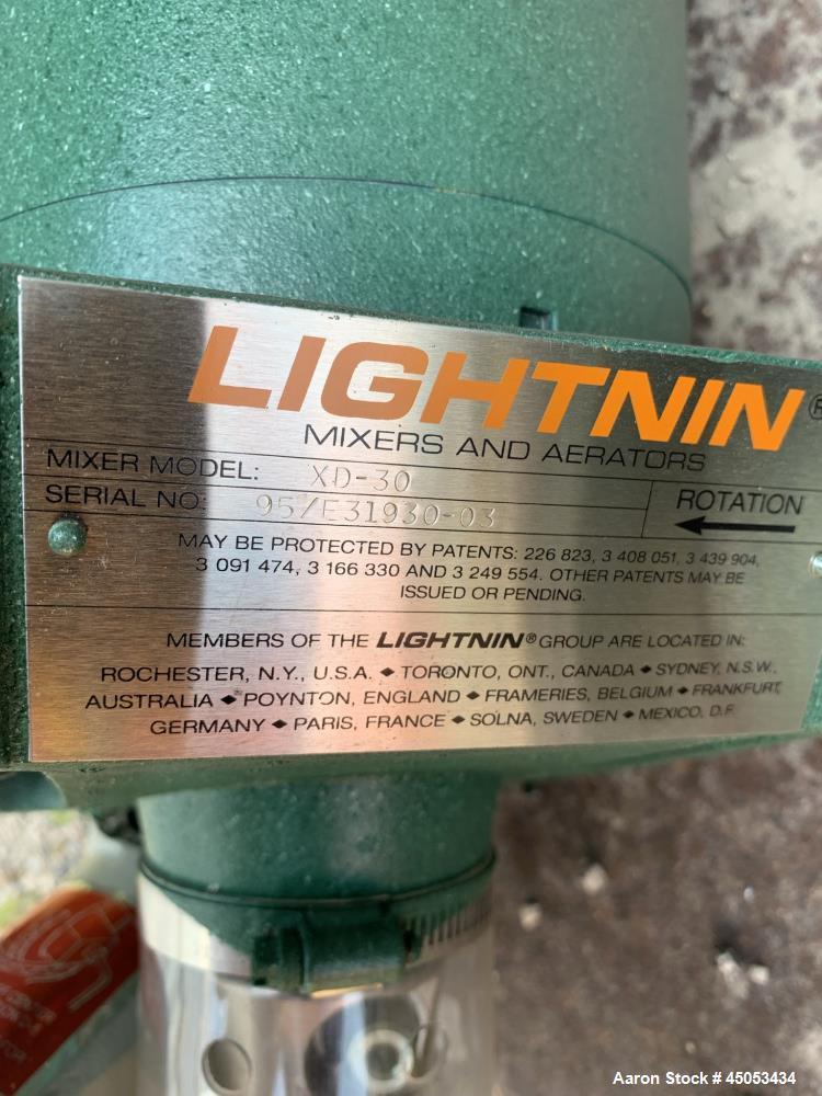 "Unused- Lightnin Agitator, Model Xd-30. Approximate 1/2"" diameter x 32"" long stainless steel shaft, no blade. Driven by 0.30..."