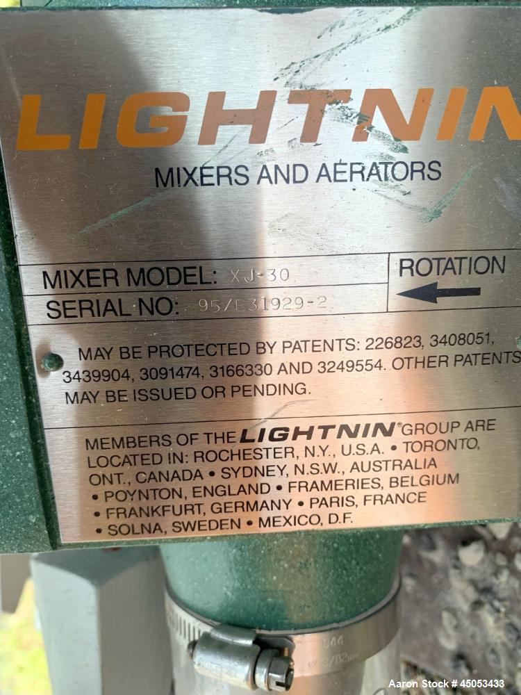 "Unused- Lightnin Agitator, Model XJ-30. Approximate 5/8"" diameter x 24"" long stainless steel shaft with 3-blade turbine. Dri..."