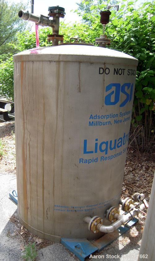 """Used- Mohawk Liquid Tote Bin,66 cubic feet (500 gallon), 304 Stainless steel. 48"""" diameter x 66"""" straight side.Dished top,..."""