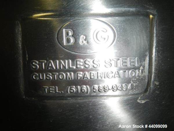 Used- B&G Tote, 9.5 cu ft, Stainless Steel