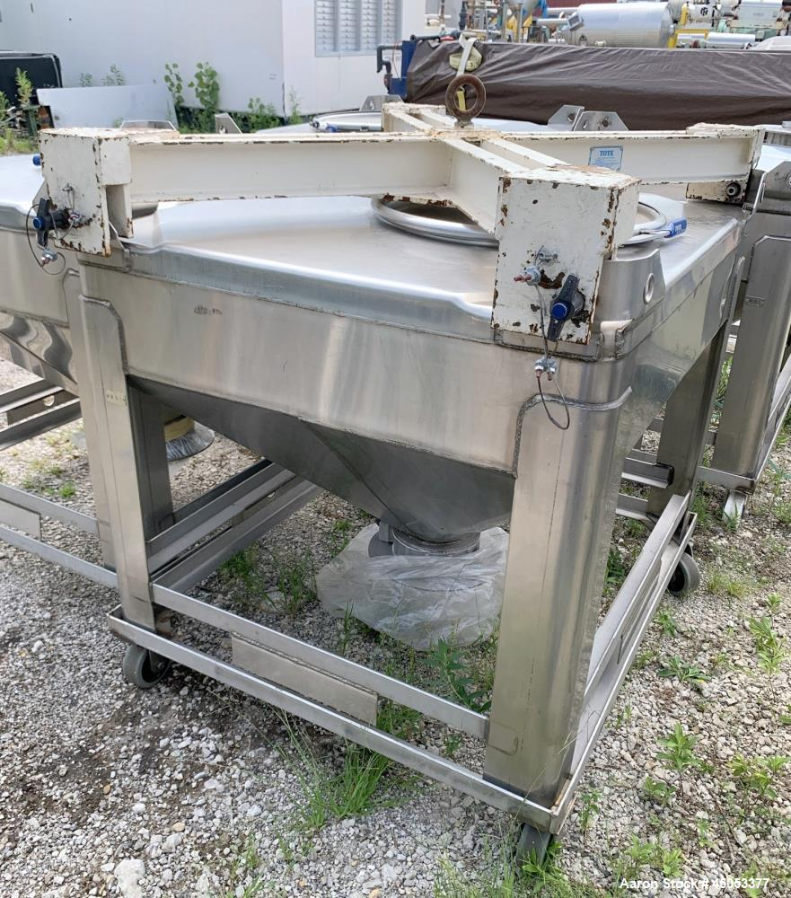 """Used-Hoover Industrial Tote Bin, 304 Stainless Steel. Approximate 48"""" x 42"""" x 10"""" straight side x 28"""" long cone. Flat top, c..."""