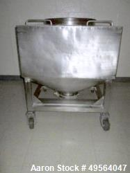 "Used- S.S Portable Product Transfer Tote with 23""D Top Port with Lid and 8"" Hand Valve on Bottom. (External Dims = 35.25""W x..."