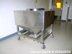 "Used- Portable Product Stainless Steel Transfer Tote, Approximate 35 Cubic Foot. 23""D Top Port with Lid and 8"" Hand Valve on..."