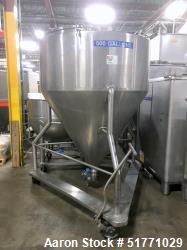 """Used-Stainless Steel Liquid Tote Bin, Approximate 500 Gallon (1892 Liter), 60"""" Diameter x 24"""" Straight Side x 54"""" Coned Bott..."""